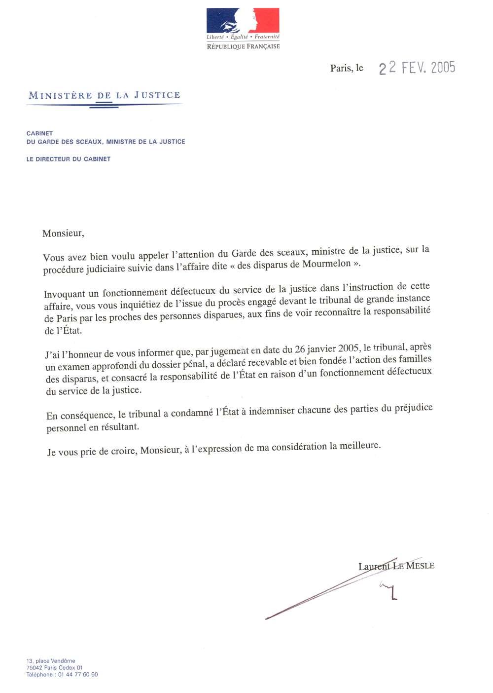 modele lettre administrative justice
